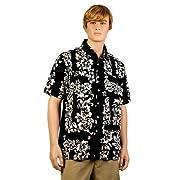 Black & White Hibiscus Hawaiiabera Shirt