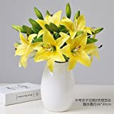 Emulation flower lily modern living room decorated with bouquets of flowers emulation plastic vases wedding single artificial flowers, twin vases 8 support Mr WONG