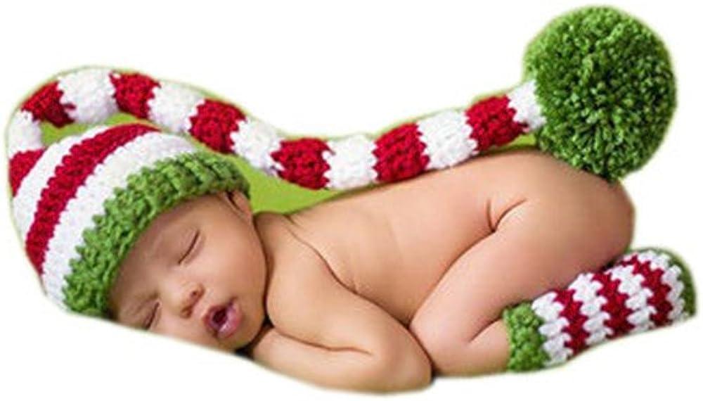 Pinbo Newborn Baby Photo Photography Prop Crochet Costume Stripe Hat Cap Leg Warmer Outfits