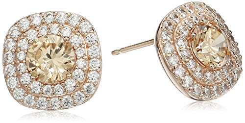 14k Rose Gold Plated Sterling Silver Champagne Cubic Zirconia and White Cubic Zirconia Double Halo Stud Earrings