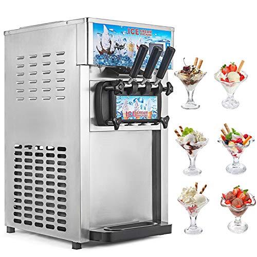 Ice Cream Machine Commercial Frozen Soft Serve Ice Cream Maker Machine 3-Flavor 18L/H Ship from US