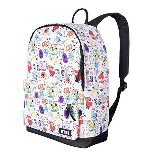 BTS Backpacks for Girls, Bangtan Boys Women Lovely Laptop Bags Teen Boys Kids School Bags Men Travel Rucksacks Armee Suga Jimin Jin Jung Jook J-Hope Rap-Monster V Daypack Handbags (White)