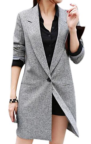 Lingswallow Womens Classic Drape Lapel Open Front Long Jacket Blazer Trench Coat, Grey, Tag Size XXL=US 10