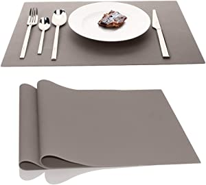 Silicone Placemats Waterproof Baking Mat, IPHOX Set of 2 17.7x12.6 Inches Kitchen Table Mat, Heat Resistant Washable Non-Slip Insulation Place Mat for Kitchen Dining Table Home Decoration (Light Gray)