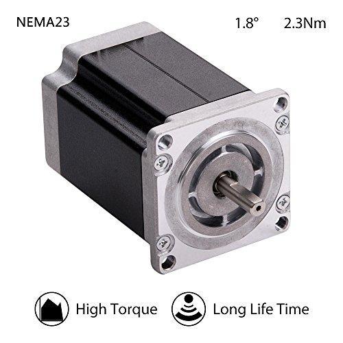 Hybrid Motor - MOONS' NEMA23 High Torque Stepper Motor 2.3Nm(330oz-in) 5A 2Phase 1.8degree Stepper Motor 77mm(3.03 in.)(Model ML23HSAL4500)