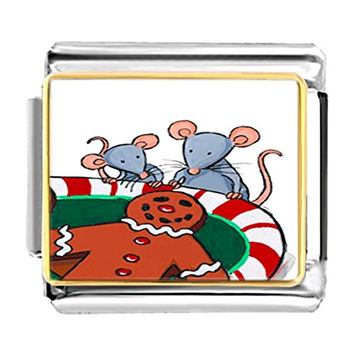 GiftJewelryShop Gold Plated Mice Eating Gingerbread Man Bracelet Link Photo Italian Charm