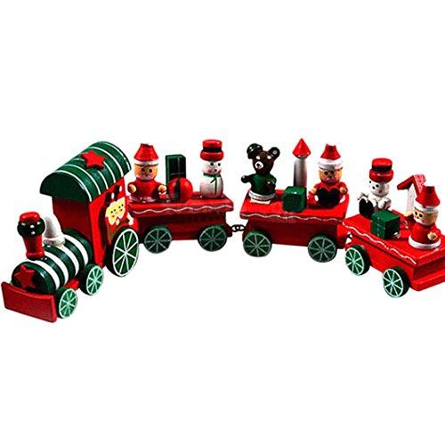 Jouets pour enfants,Xinan 4 Pieces Bois de Noël Xmas train Décoration Décor cadeau