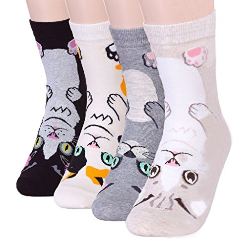 4Pairs-Womens-Cute-Animal-design-Cotton-Blend-Crew-Socks-by-DearMy