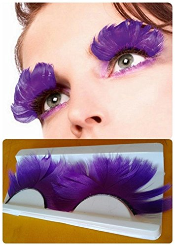 Dorisue 3D Dorisue Feather eyelashes purple Extra extension Theatre Art show Party Hallowee (White Feather Lashes)