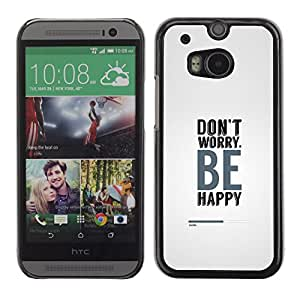 CASEMAX Slim Hard Case Cover Armor Shell FOR HTC One M8- DON'T WORRY BE HAPPY