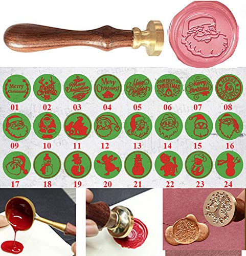 tmas Santa Claus Monogram Decorative Wax Seal Sealing Stamp Curlicue Wedding Invitations Christmas Gift Cards Embellishment Cutomize Seal Stamp Rosewood Handle Set ()