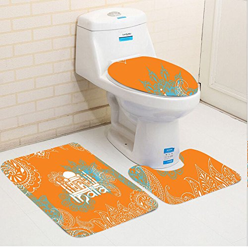 Keshia Dwete three-piece toilet seat pad customIndian Asian Mehendi Style Ethnic Paisley Mandala Lotus Culture Traditional Artwork Aqua Orange White