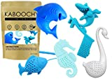 UnderWater World 5 Pack Silicone Tea Infusers, Reusable Cute Loose Leaf Tea Diffuser Strainer Gift Pack. Includes Fish, Seahorse, Swan, Shark & Surfing Shark by KABOOCHY
