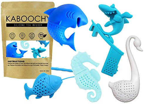 UnderWater World 5 Pack Silicone Tea Infusers, Reusable Cute Loose Leaf Tea Diffuser Strainer Gift Pack. Includes Fish, Seahorse, Swan, Shark & Surfing Shark by KABOOCHY by KABOOCHY (Image #5)