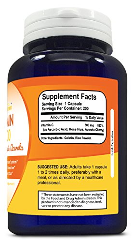 Sonora Nutrition Vitamin C with Rose Hips and Acerola 500 mg, 200 Capsules - 51 3Z57j3UL - Sonora Nutrition Vitamin C with Rose Hips and Acerola 500 mg, 200 Capsules