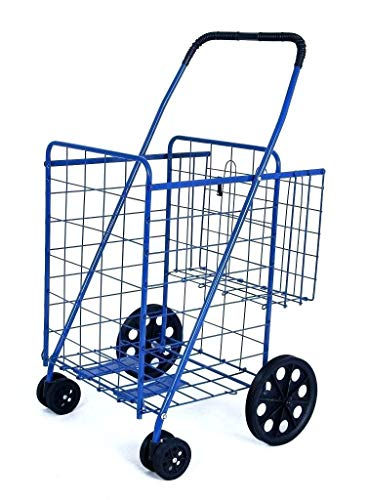 Swivel Wheels FOLDING SHOPPING/LAUNDRY CART with Double Basket Cart - Blue