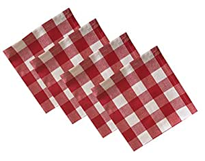 Buffalo Check Indoor/Outdoor Cotton Napkins - Cottage Style Gingham Check Pattern - Set of 4 Napkins, Red
