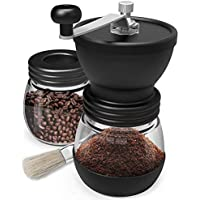 Manual Coffee Mill Grinder with Ceramic Burrs Two Clear Glass Jars Stainless Steel Handle and Silicon Cover