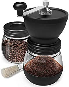 COPPS Manual Coffee Mill Grinder with Ceramic Burrs Two Clear Glass Jars Stainless Steel Handle and Silicon Cover