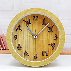 CLG-FLY Desktop clock stereo fashion creative personality Yoga small alarm mute,good gift for your children