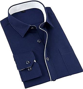 Jeetoo® Camisas Hombre Manga Larga Slim Fit Camisa Lisa para ...
