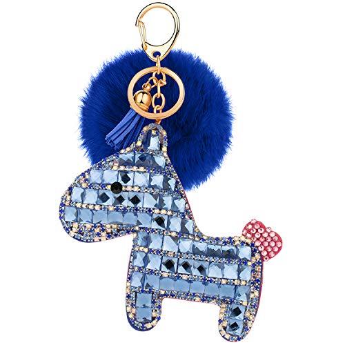 (JOUDOO Rhinestone Pony Keychain with Pom Pom Fur Ball and Tassels Keyring for Bags Purses Keys GJ018 (blue 1))