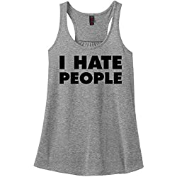Comical Shirt Ladies I Hate People Funny Antisocial Shirt Sport Grey S