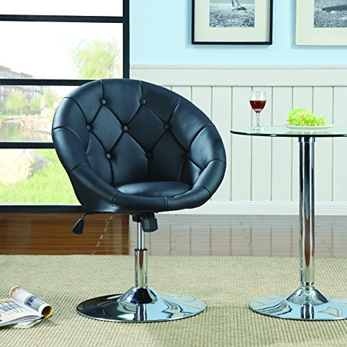 Coaster 102580 Round-Back Swivel Chair, Black - Leather Accent Table