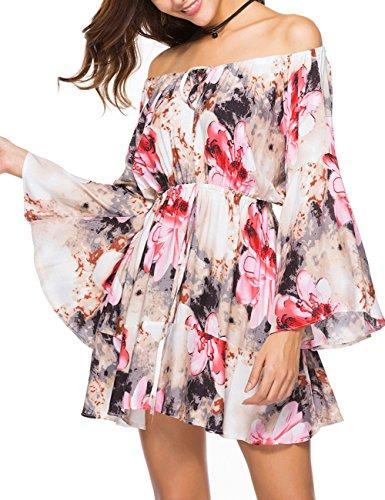 Ailunsnika Women Summer Casual Pink Floral Print Long Flare Sleeve Off Shoulder A Line Mini Sundress Short Dress XX-Large -