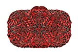 Beaushion Women's Bright Red Flower Rhinestones Wedding Party Handbags and Clutch Purses(Red)