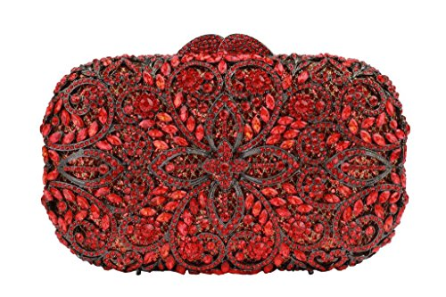 Beaushion Women's Bright Red Flower Rhinestones Wedding Party Handbags and Clutch Purses(Red) by YILONGSHENG