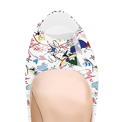 Onlymaker Damenschuhe High Heels Pumps Peep Toe Stiletto Plateau Absatz Lackleder White Graffiti-peep toe