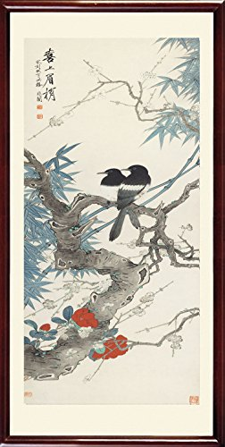 """INK WASH Giclee Prints Chinese Feng Shui Painting of Plum Blossom Flowers and Magpies Framed Ready to Hang 31""""x24"""""""