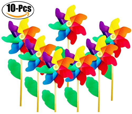 Funpa Party Pinwheel, 10PCS Pinwheel Decorations Rainbow Photo Props Kids Toys Wind Spinners Party Favors by Funpa
