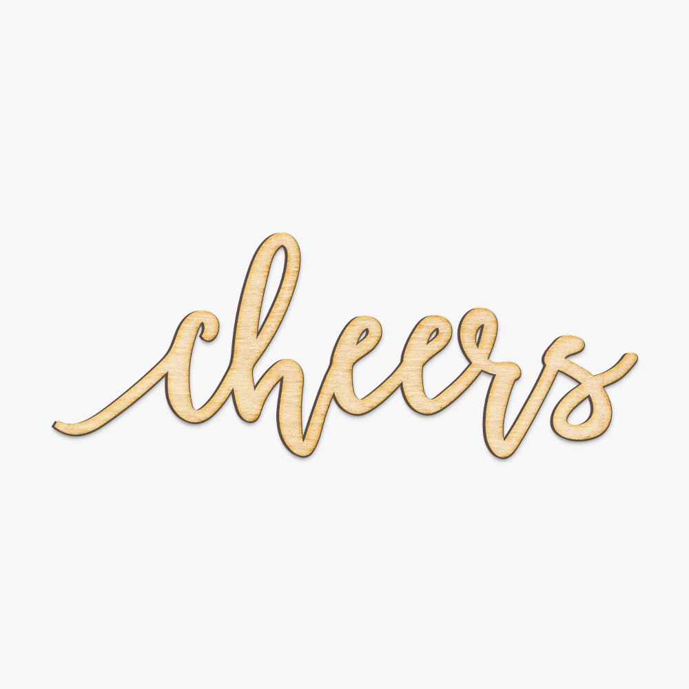 Amazon com cheers wood sign home party wedding rustic décor wall art unfinished 12 x 4 home kitchen