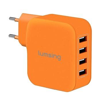 Lumsing Cargador USB de pared 4 Puertos 35W USB iSmart Wall charger, Enchufe europeo para iPhone 6 Plus/ 6/ 5S/ 5/ 4S, iPad Air/Air 2, iPad Mini, ...
