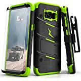 Zizo BOLT Series compatible with Samsung Galaxy S8 Plus Case Military Grade Drop Tested with Tempered Glass Screen Protector Holster BLACK NEON GREEN