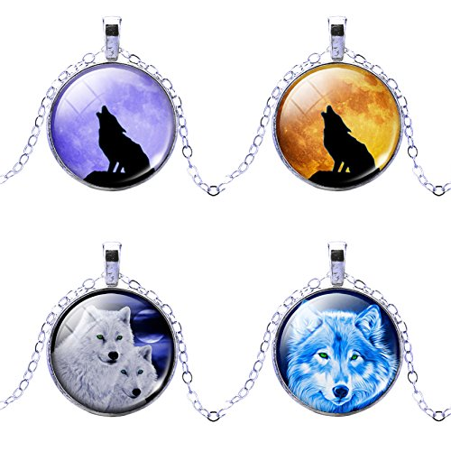 Jiayiqi Stainless Steel Tribal Wolf Necklace Silver Tone Alloy Pendant Necklace 4 Pieces -