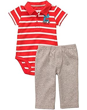 Carter's Baby Boy's 6 Months Striped Orange Polo Shirt, Property of Mommy Pants Set