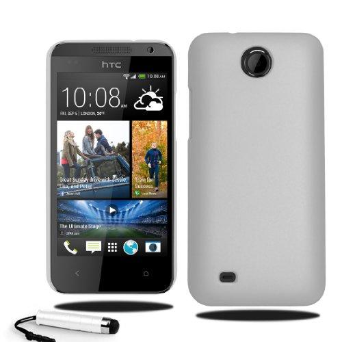 HTC Desire 300 Slim Hard Case Hybrid Cover Free Screen Protector & Stylus (White)