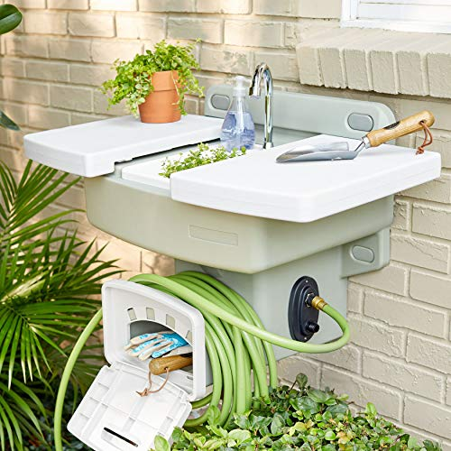 BrylaneHome Outdoor Garden Sink with Hose Holder, White