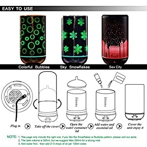 Remote Ultrasonic Mist Humidifier,Yusen Aroma Essential Oil Diffuser with Waterless Auto Shut Off Protection,Separate 7 Color LED Lights,Starry City