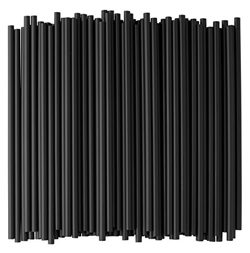 (Crystalware, Black Plastic Straws, 7 3/4 Inches, Jumbo Pack 500 Straws)