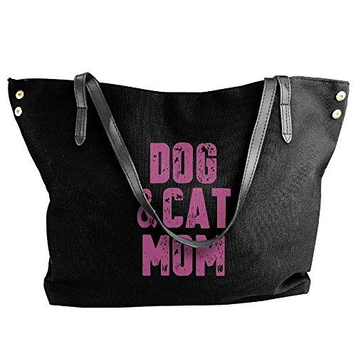 Dog Hand Black Handbag Shoulder Cat amp; Mom Bag Women's Tote Large Canvas UPqqzZX