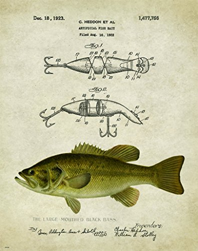 Antique Fly Fishing Lure US Patent Poster Art Print Crappie Trout Largemouth Bass Walleye Muskie Lures Poles 11x14 Wall Decor Pictures