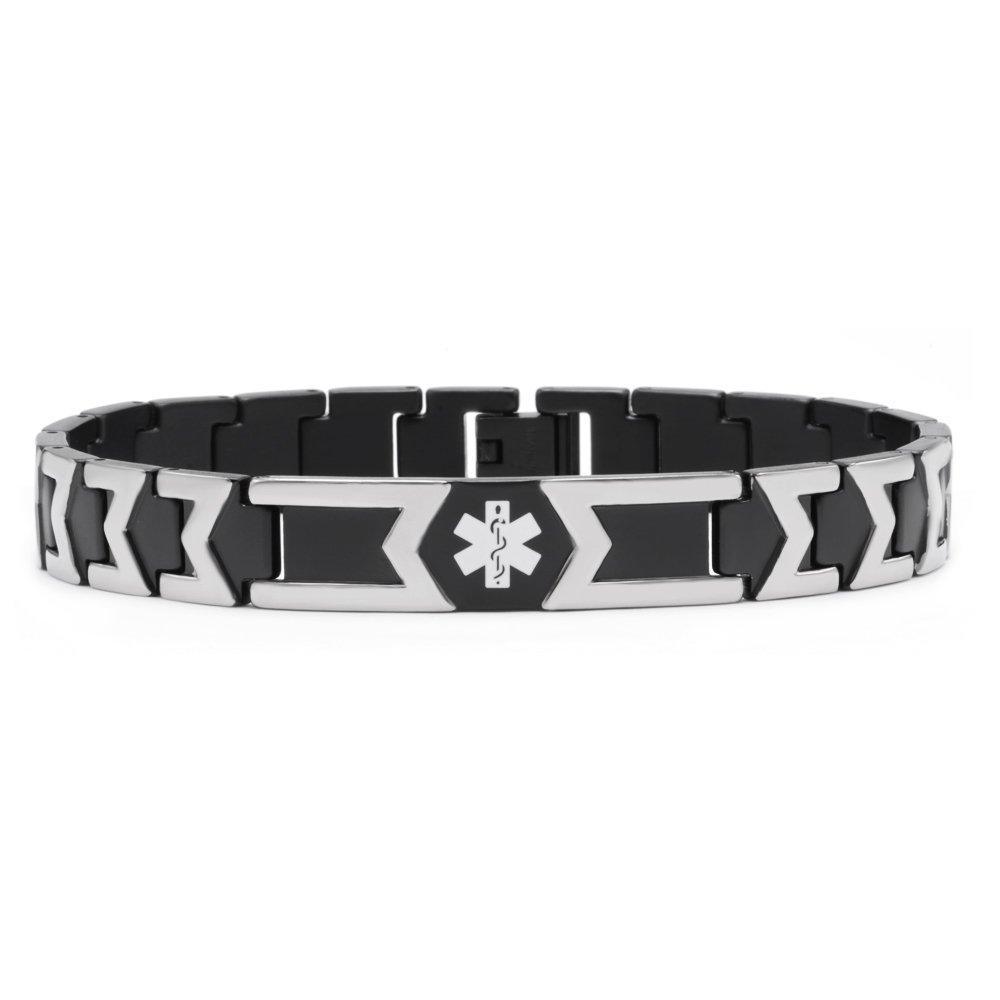 Tarring-Free engraving Black Pure Titanium Medical id bracelets for Men and Women