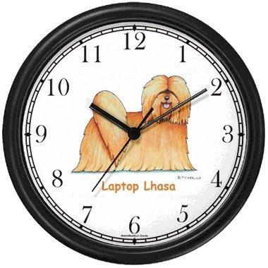 Lhasa Apso Frame (Lhasa Apso Dog Cartoon or Comic - JP Animal Wall Clock by WatchBuddy Timepieces (Black Frame))