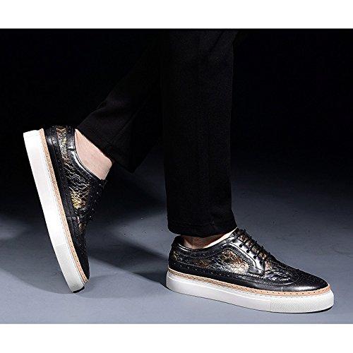 Hommes En Cuir Brogues Formelles Chaussures De Mariage Classique Bout Rond Vintage Lacets Oxford Chaussures Pour Hommes D'affaires Chaussures Blackandwhite l0cItM