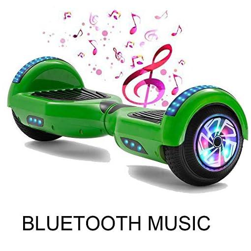 Magic Vida Overboard 6.5 Pouces Bluetooth Puissance 700W avec Deux Barres LED Gyropode Pas Cher Auto-Équilibrage de Bonne qualité pour Enfants et Adult(Vert)
