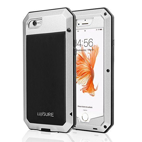 Luxsure Aluminum Alloy Metal Corning Gorilla Glass Protection Case Cover Waterproof Shockproof Dirtproof 3-Proof Heavy Armor Phone Protective Hard Shell Cover Case for iPhone 6/6S (Silver)